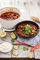 Vegeterian mexican bean chilli with chipotle chili