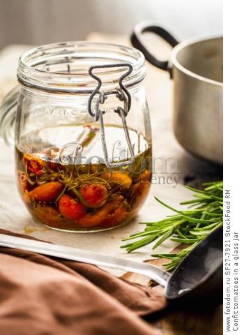 Confit tomatoes in a glass jar