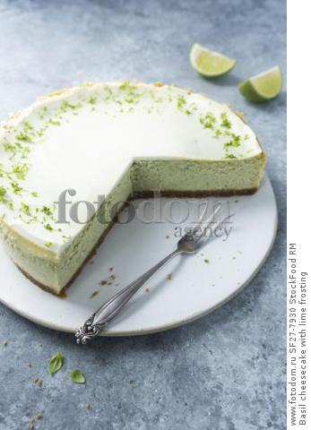 Basil cheesecake with lime frosting