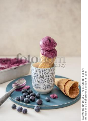 Homemade blueberry ice cream in cone