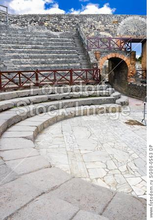 Ancient ruins of a small amphitheater in Pompeii, Italy