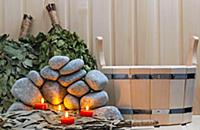 Candles, stones for sauna and bath accessories.