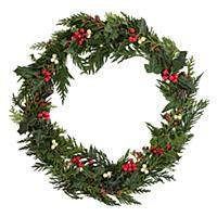 Christmas decorative wreath of holly, ivy, mistlet