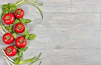 Italian food background with tomatoes, basil and g