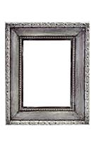 Adorned silver picture frame - isolated on white b