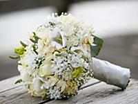 Beautiful wedding bouquet with white flowers on a