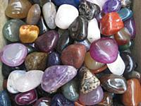Agate, colorful stones, polished minerals, bits of