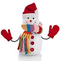 Christmas snowman with wool scarf and santa claus