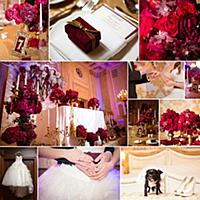 Collage of wedding pictures decorations in red col