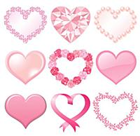 Set of pink heart decorations, isolated on white b