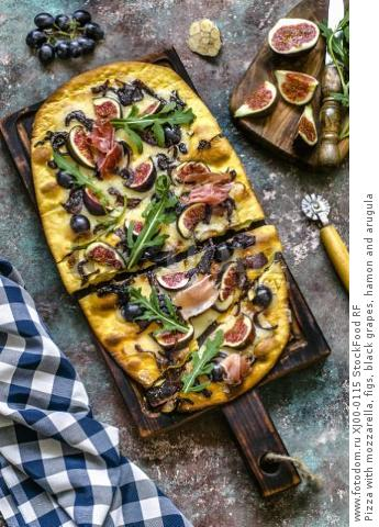 Pizza with mozzarella, figs, black grapes, hamon and arugula