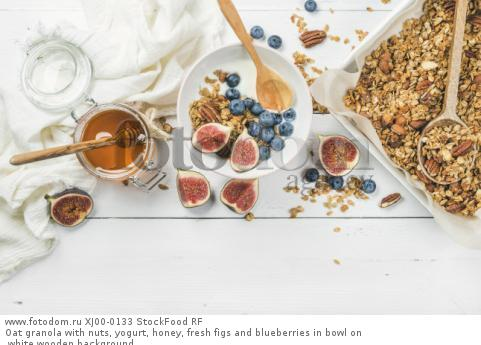 Oat granola with nuts, yogurt, honey, fresh figs and blueberries in bowl on white wooden background