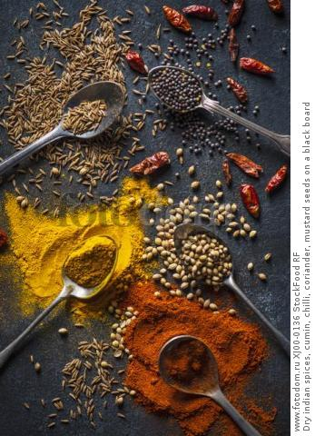 Dry indian spices, cumin, chilli, coriander, mustard seeds on a black board