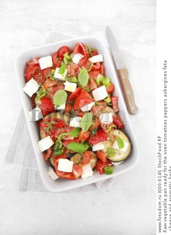 Raw vegetable pan ready for the oven tomatoes peppers aubergines feta cheese and aromatic herbs