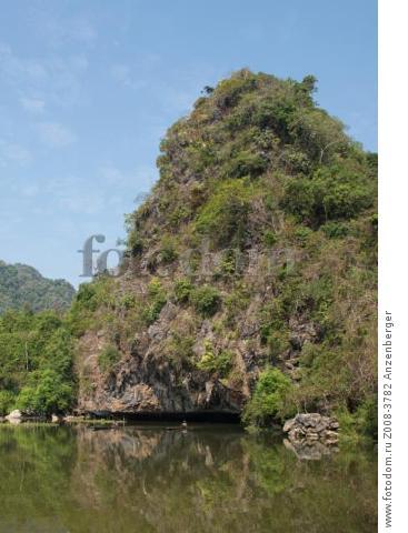 MYANMAR / Kayin State / Hpa-an / Idyllic lake framed by limestone mountains near Saddar CaveВ© Mario Weigt / Anzenberger