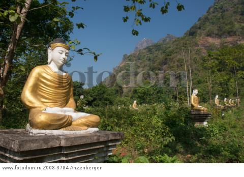 MYANMAR / Kayin State / Hpa-an / Lumbini Park with 1121 Buddha images at the foot of the Zwegabin mountain В© Mario Weigt / Anzenberger
