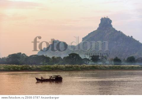 MYANMAR / Kayin State / Hpa-an / Evening mood on the Thanlwin River and the Hpan Pu limestone mountainВ© Mario Weigt / Anzenberger