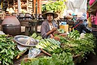 MYANMAR / Kayin State / Hpa-an / Vegetable seller