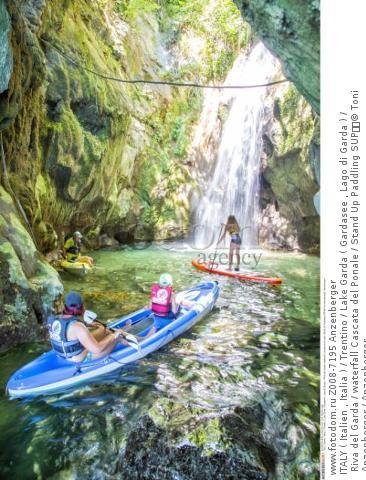ITALY ( Italien , Italia ) / Trentino / Lake Garda ( Gardasee , Lago di Garda ) / Riva del Garda / waterfall Cascata del Ponale / Stand Up Paddling SUP  © Toni Anzenberger / Anzenberger