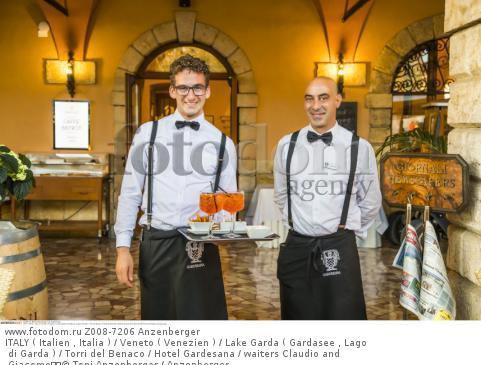 ITALY ( Italien , Italia ) / Veneto ( Venezien ) / Lake Garda ( Gardasee , Lago di Garda ) / Torri del Benaco / Hotel Gardesana / waiters Claudio and Giacomo  © Toni Anzenberger / Anzenberger