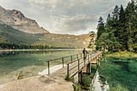 Biker around Eibsee, Zugspitze, Garmisch, Bavaria,