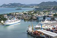 Cruiseships in port, Castries, St Lucia, Caribbean