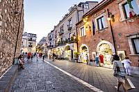 Old town and shoppingstreets of Taormina, Sicily,