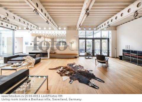 Living room inside a Bauhaus villa, Sauerland, Germany  Для коммерческого использования может требоваться очистка прав. Необходимо уточнение.