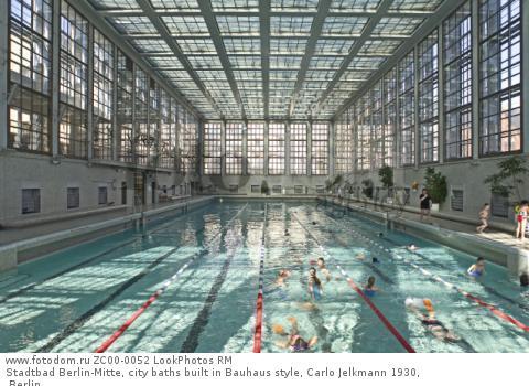 Stadtbad Berlin-Mitte, city baths built in Bauhaus style, Carlo Jelkmann 1930, Berlin  Для коммерческого использования может требоваться очистка прав. Необходимо уточнение.
