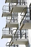 Cantilevered balconies on the Bauhaus Dessau in Gr