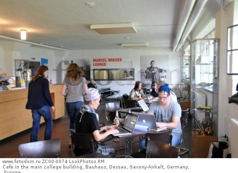 Cafe in the main college building, Bauhaus, Dessau, Saxony-Anhalt, Germany, Europe  Для коммерческого использования может требоваться очистка прав. Необходимо уточнение.