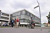 Main college building under clouded sky, Bauhaus,