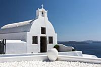 The white chapel of Oia, Santorini, Greece