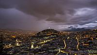 Quito, the capital of Ecuador at night. View of th