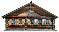 Traditional russian house (izba), Isolated on whit