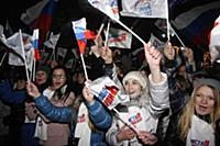 Митинг в поддержку Владимира Путина в президенты в Москве на Манежной площади