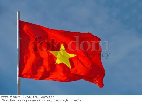 Флаг Вьетнама развевается на фоне голубого неба.