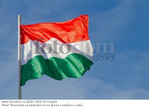 Флаг Венгрии развевается на фоне голубого неба.