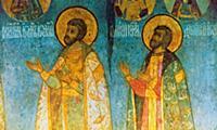 Московские князья Иван и Дмитрий. Фреска Успенског