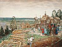 Первые постройки в Кремле. XII век. Художник Аполл