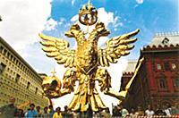 Двухглавый орел  шпилей Воскресенских ворот. Москв