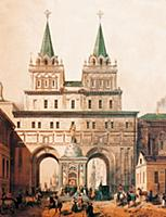 Вид Воскресенских ворот. Литография XIX в. Москва.