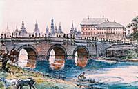 Кузнецкий мост в середине XVIII в. Москва, Россия.
