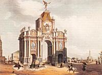Вид Красных Триумфальных ворот. 1850-е годы. Раскр
