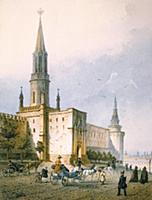 Никольская башня Московского Кремля. Рисунок XIX в
