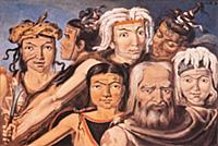 Семейство индейцев-колошей. Рисунок М.Тиханова