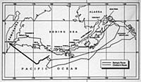 Карта маршрутов Второй Камчатской экспедиции В.Бер