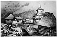 Первые дома русских поселенцев на острове Кадъяк н