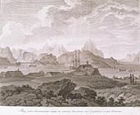 Вид Капитанской гавани на острове Уналашка. Гравюр
