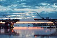 Пейзаж на рассвете на реке Волга